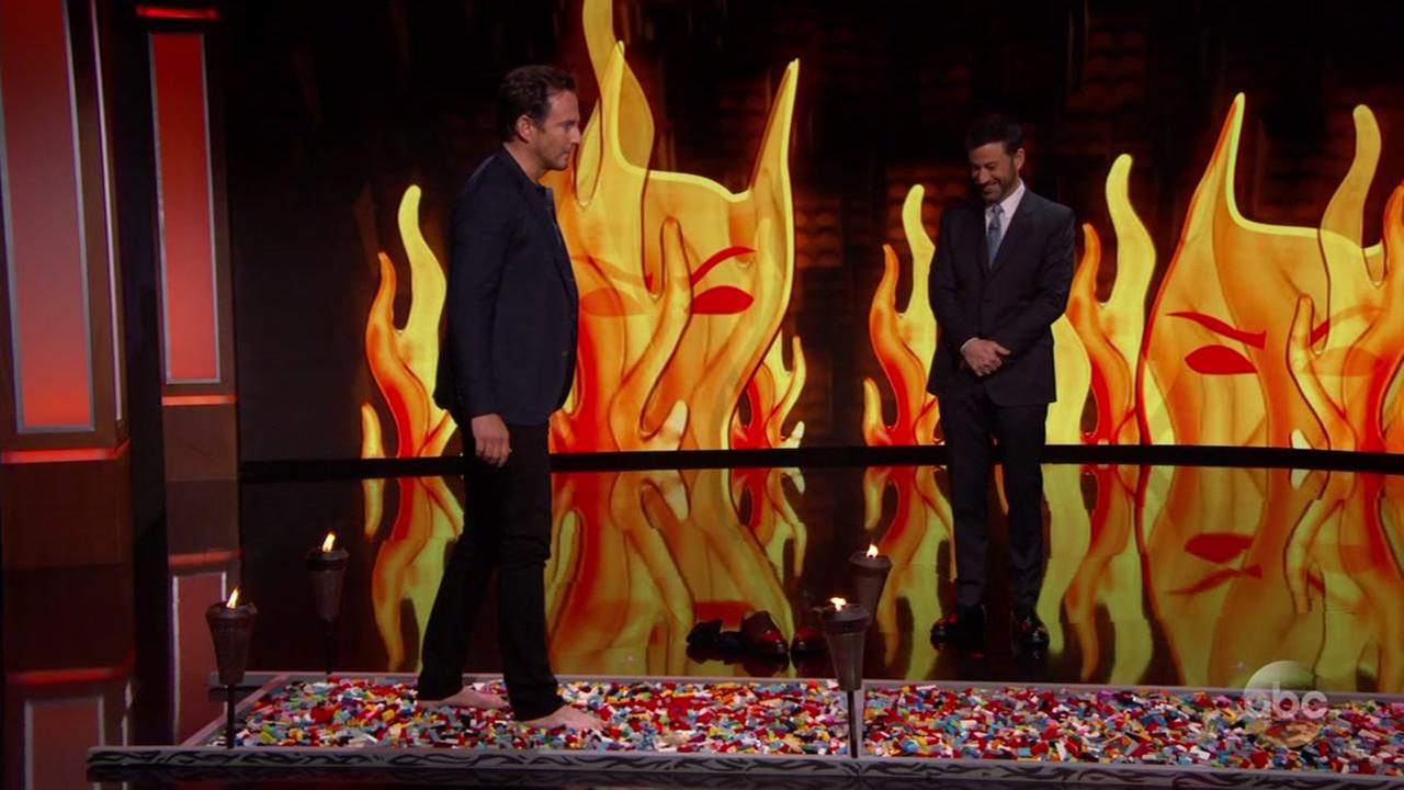 Actor Will Arnett accepts challenge to walk on Legos on Jimmy Kimmel Live