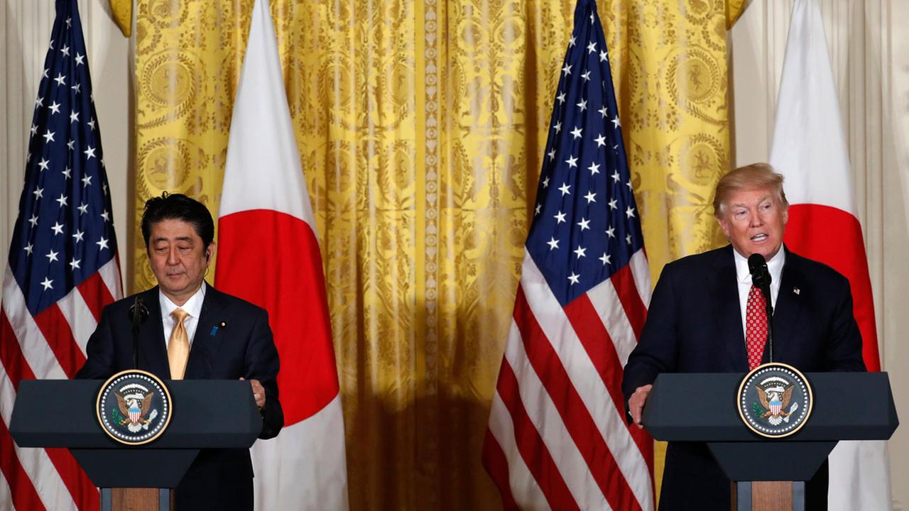 President Donald Trump and Japanese Prime Minister Shinzo Abe participate in a joint news conference in the East Room of the White House in Washington, Friday, Feb. 10, 2017.
