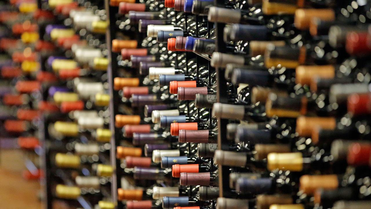 Bottles of wine are displayed during a tour of a state liquor store, in Salt Lake City.