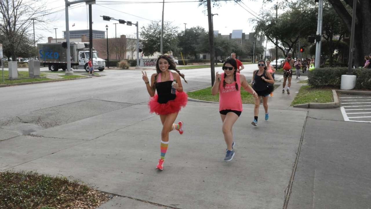 Runners bare it all in the Cupid Undie Run in Houston on Saturday, Feb. 11, 2017.Victoria Lewis/KTRK