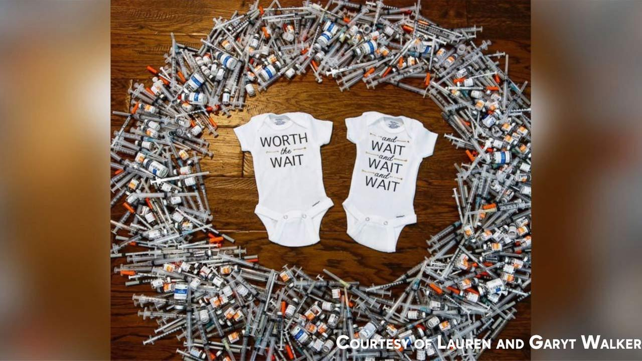 Couple reveals pregnancy in amazing viral photo with 452 IVF needles