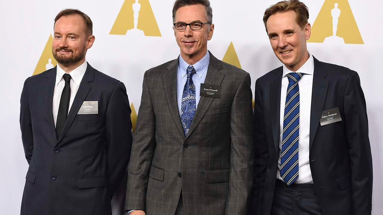 Andy Wright, from left, Kevin OConnell, and Robert Mackenzie arrive at the 89th Academy Awards Nominees Luncheon at The Beverly Hilton Hotel on Monday, Feb. 6, 2017.