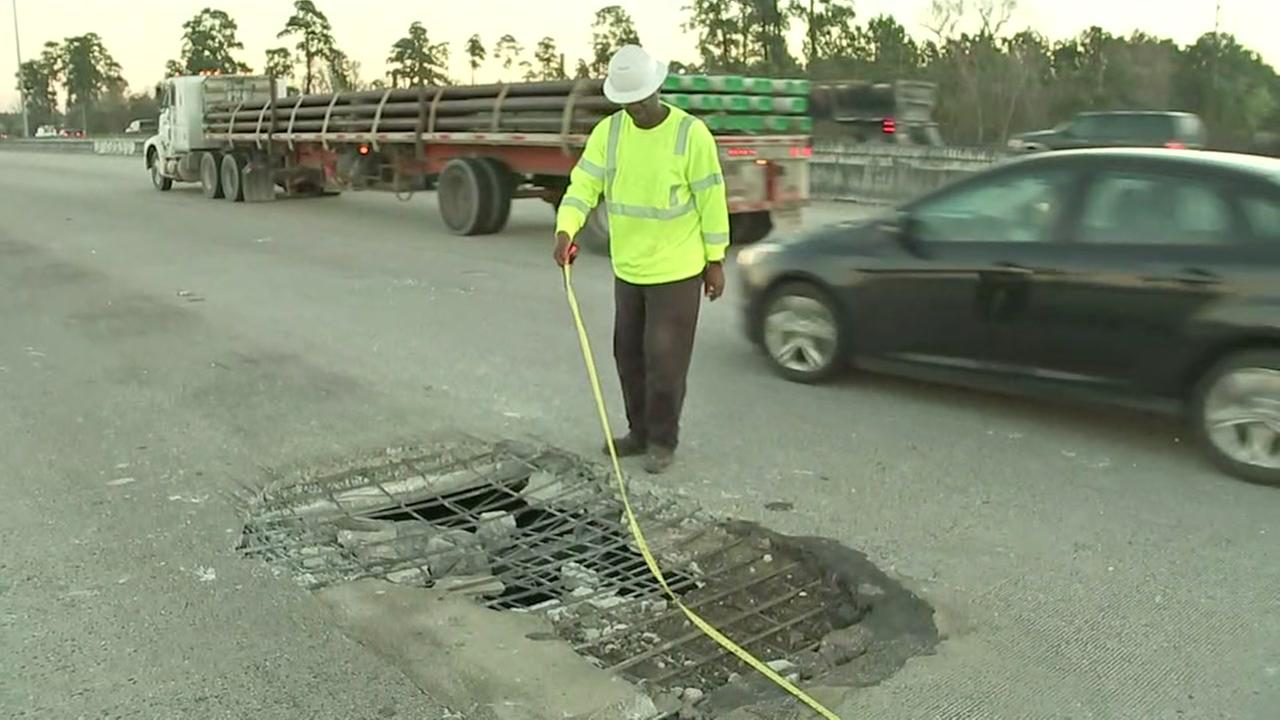 Giant pothole causing havok in the middle of I-45 Northbound between Rayford and Hardy Toll Rd.