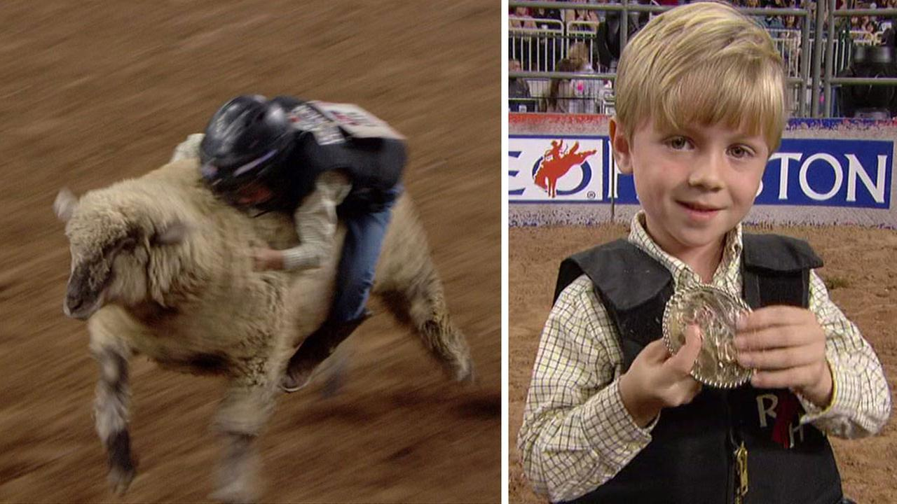 Mutton Bustin winner at RodeoHouston