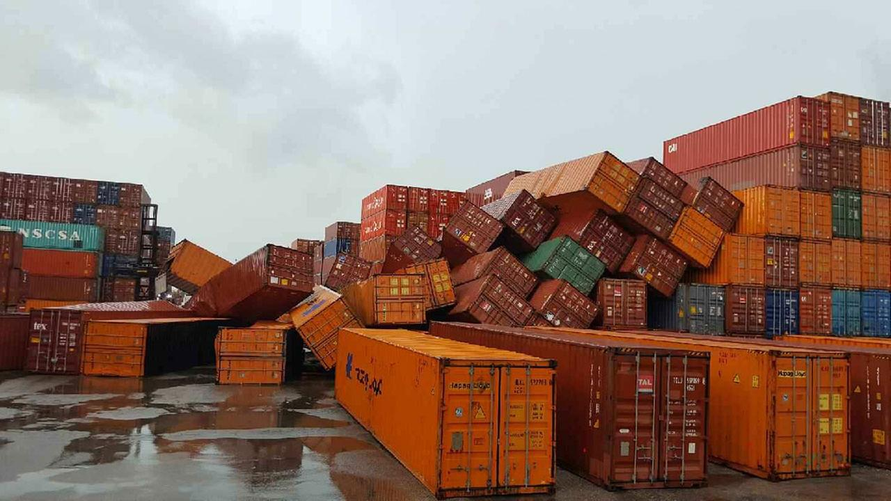 Heavy winds toppled shipping containers at the Houston Ship Channel on Wednesday afternoon.