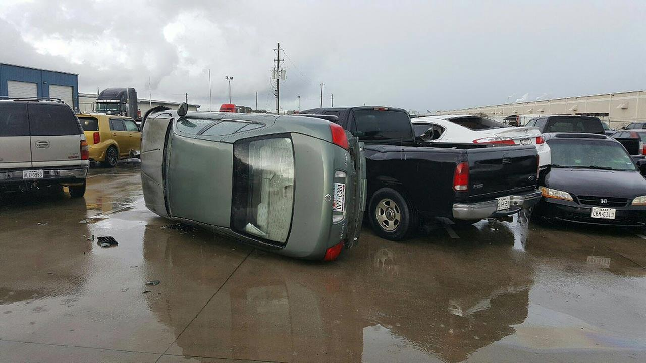 Severe storms flipped cars at the Best Transportation parking lot on Fairmont Parkway at Highway 146