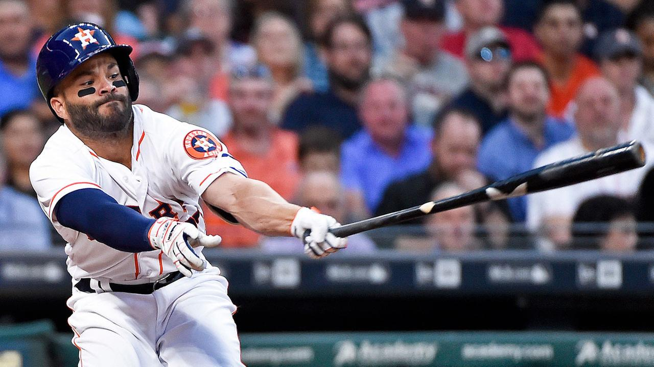 Houston Astros Jose Altuve strikes out in the first inning of a baseball game, Monday, April 3, 2017, in Houston.AP Photo/Eric Christian Smith