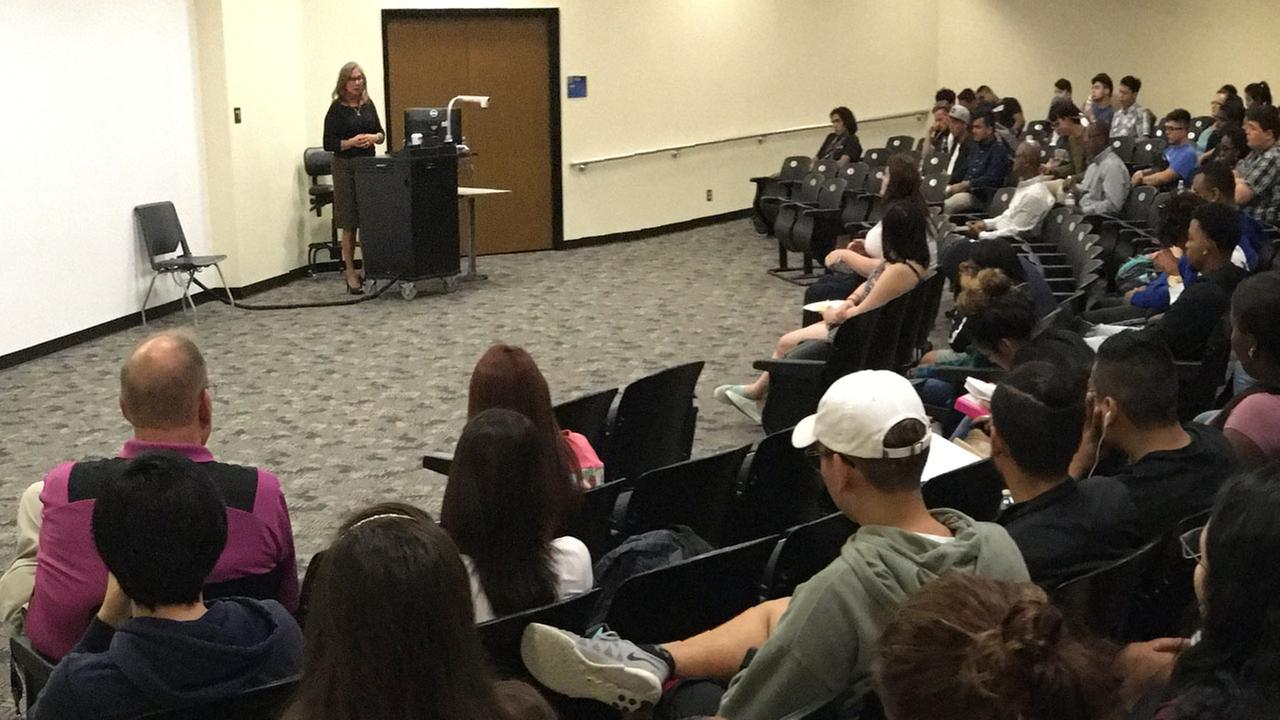 Cynthia Cisneros speaks with students at San Jacinto Jr College