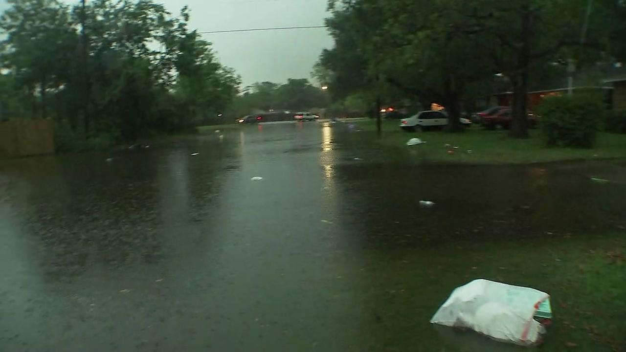 Streets flooded in La Marque, Galveston Co.