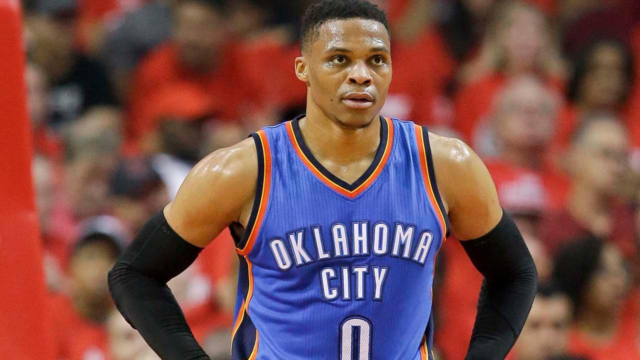 Oklahoma City Thunder guard Russell Westbrook pauses during the first half in Game 2 of the teams NBA basketball first-round playoff series against the Houston Rockets.Eric Christian Smith