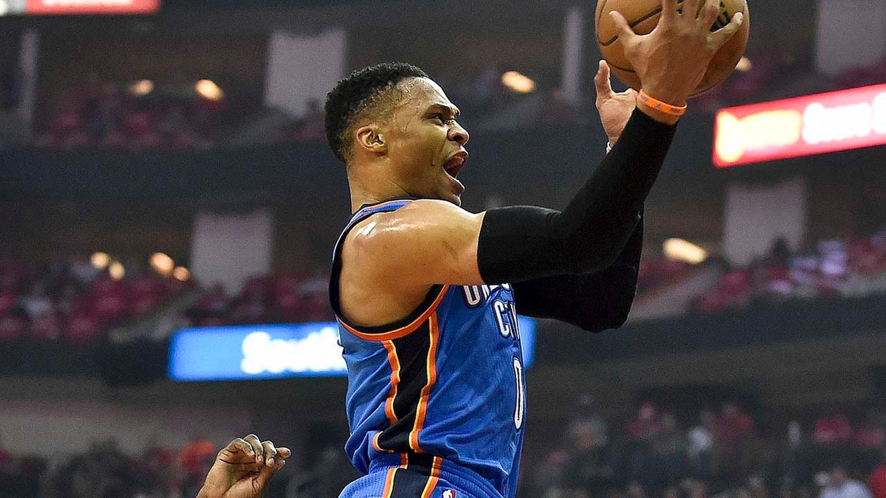 Oklahoma City Thunder guard Russell Westbrook drives past Houston Rockets guard Patrick Beverley during the first half in Game 2.Eric Christian Smith