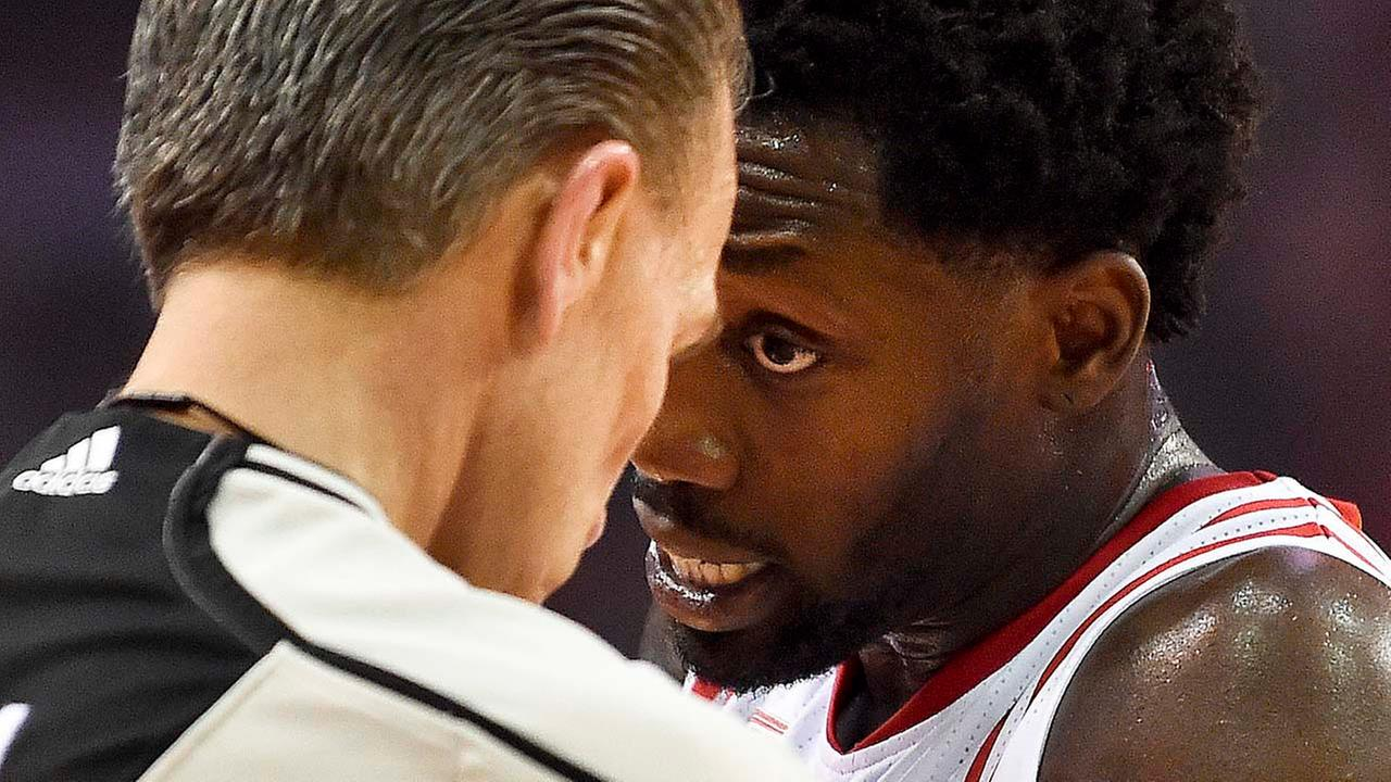 Houston Rockets guard Patrick Beverley, right, argues with official Ken Mauer during the first half in Game 2.Eric Christian Smith