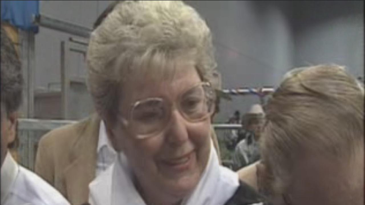 Mimi Dompier at the 1991 Rodeo Steer Auction