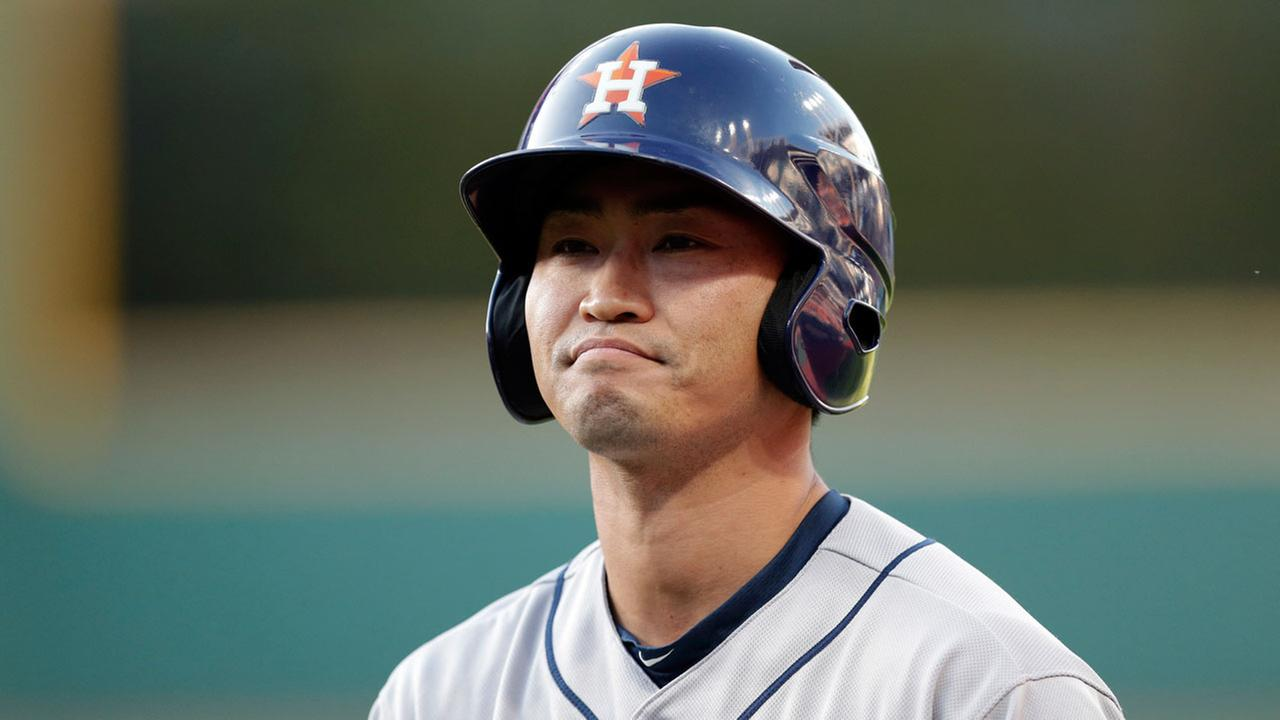 Houston Astros Norichika Aoki reacts after grounding out to second in the fourth inning of a baseball game against the Cleveland Indians, Wednesday, April 26, 2017, in Cleveland.AP Photo/Tony Dejak