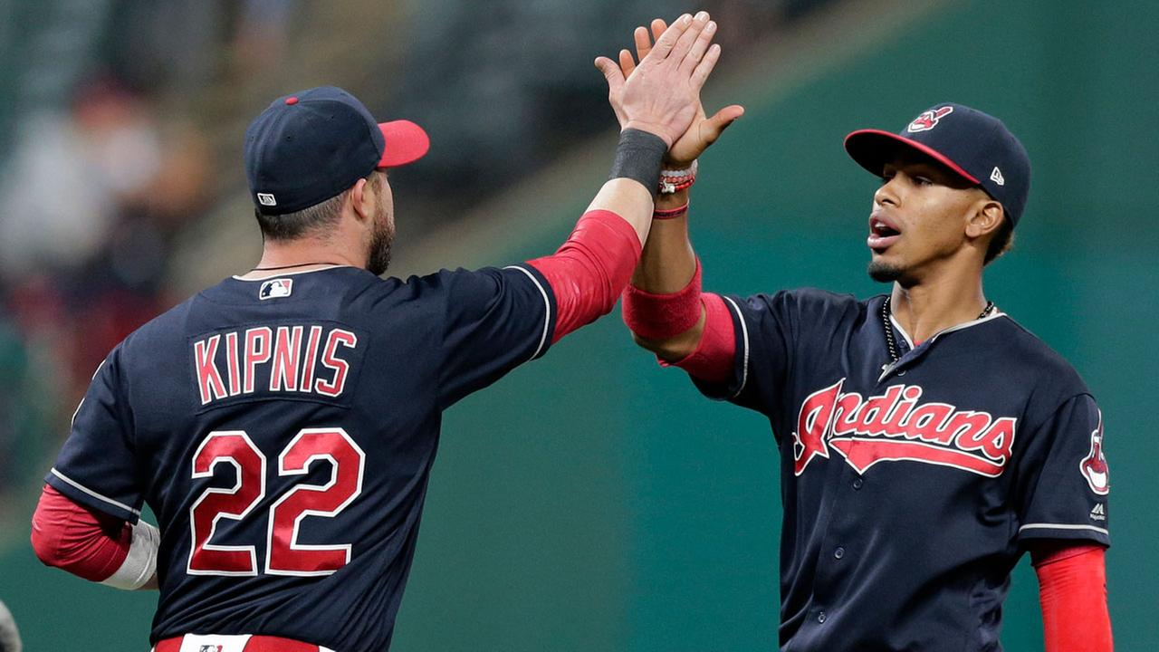 Cleveland Indians Francisco Lindor, right, and Jason Kipnis celebrate after the Indians defeated the Houston Astros 4-3 in a baseball game, Thursday, April 27, 2017, in Cleveland.AP Photo/Tony Dejak