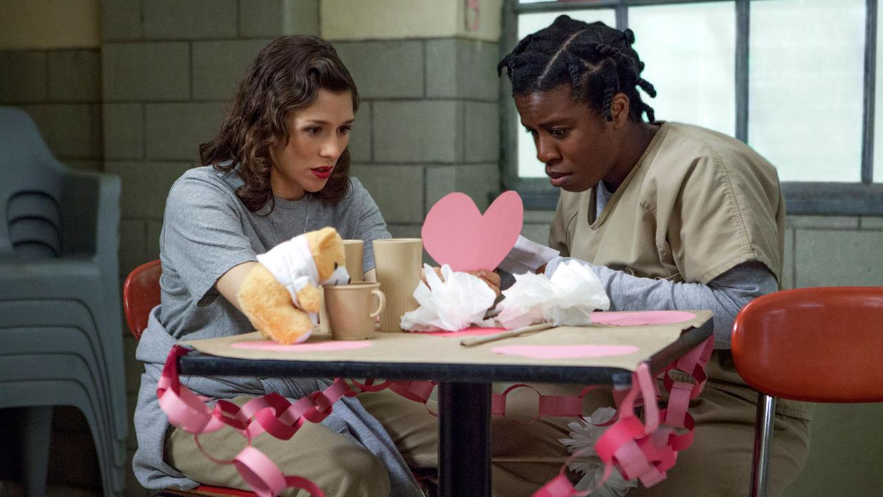 Yael Stone, left, and Uzo Aduba in a scene from Orange is the New Black.