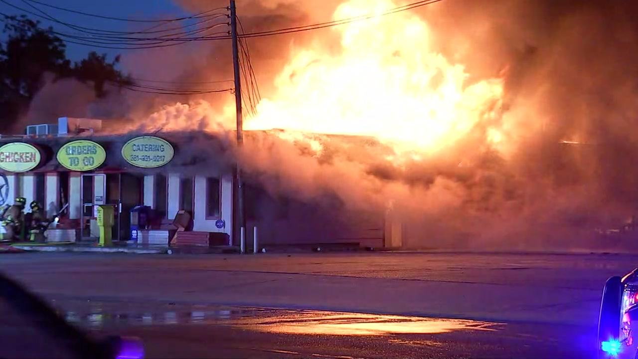 Massive fire at Charlies BBQ restaurant in North Harris County.