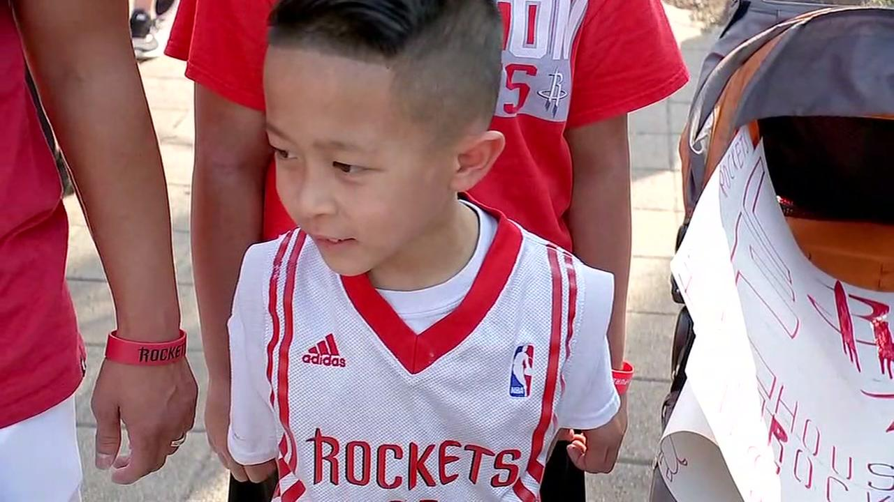 Rockets fans cheering on the team!