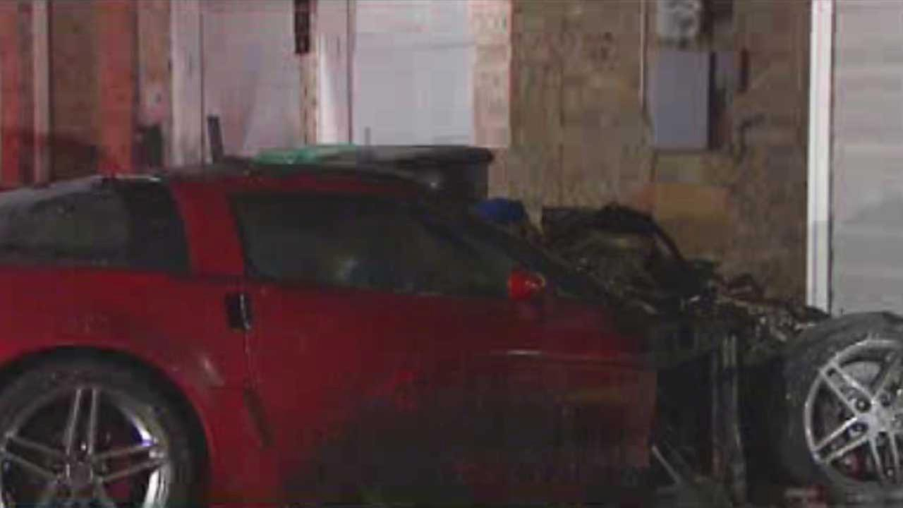 The Corvette, seen heavily damaged by fire in the two-story home