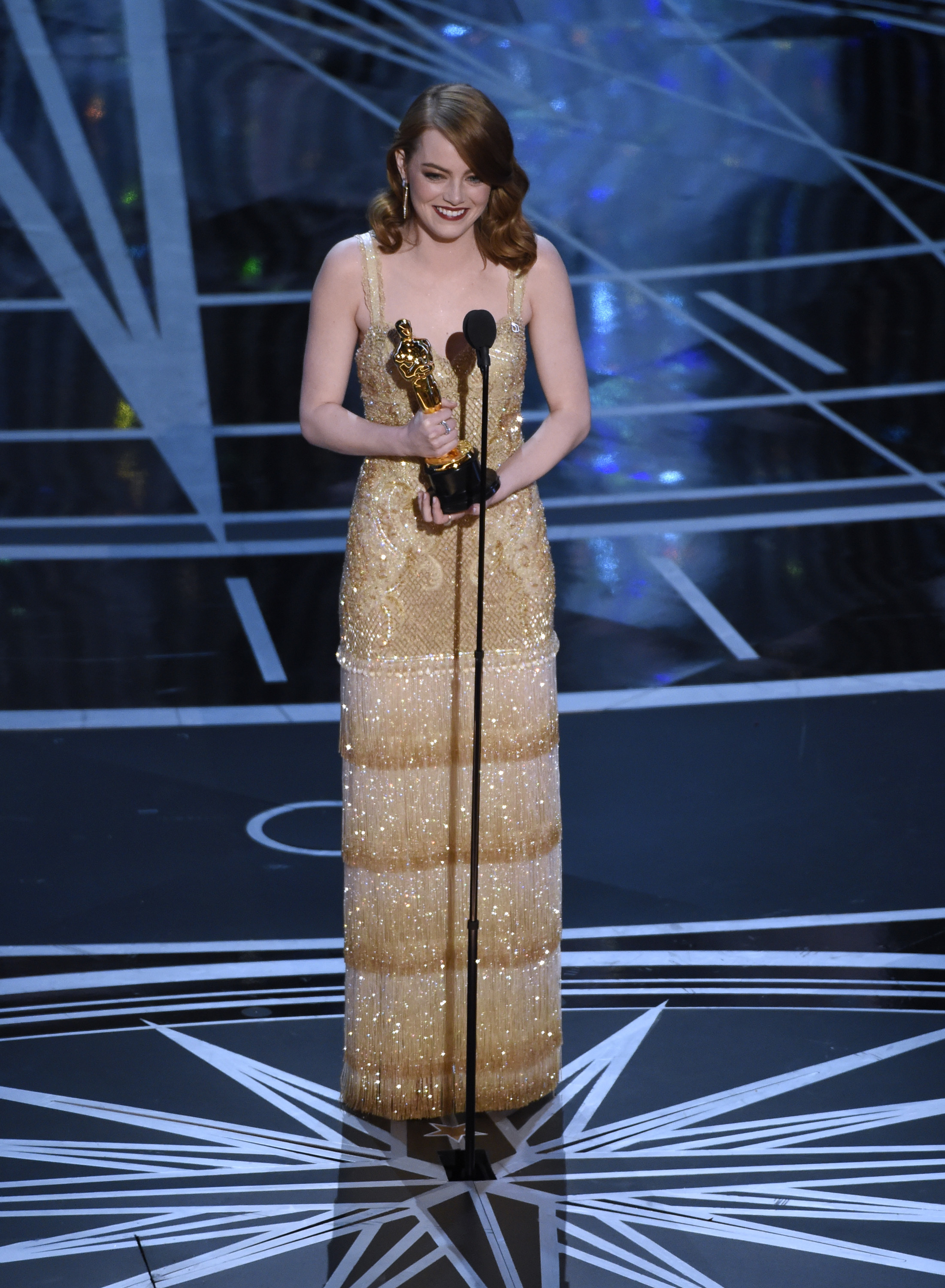 <div class='meta'><div class='origin-logo' data-origin='AP'></div><span class='caption-text' data-credit='2017 Best Actress winner Emma Stone'>Emma Stone accepts the award for best actress in a leading role for &#34;La La Land&#34; at the Oscars on Sunday, Feb. 26, 2017. (Photo by Chris Pizzello/Invision/AP)</span></div>