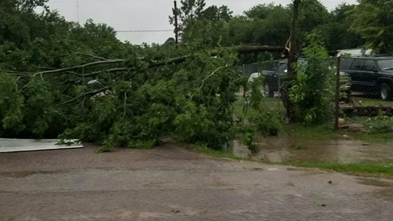 Storm damage and flooding in Houston area