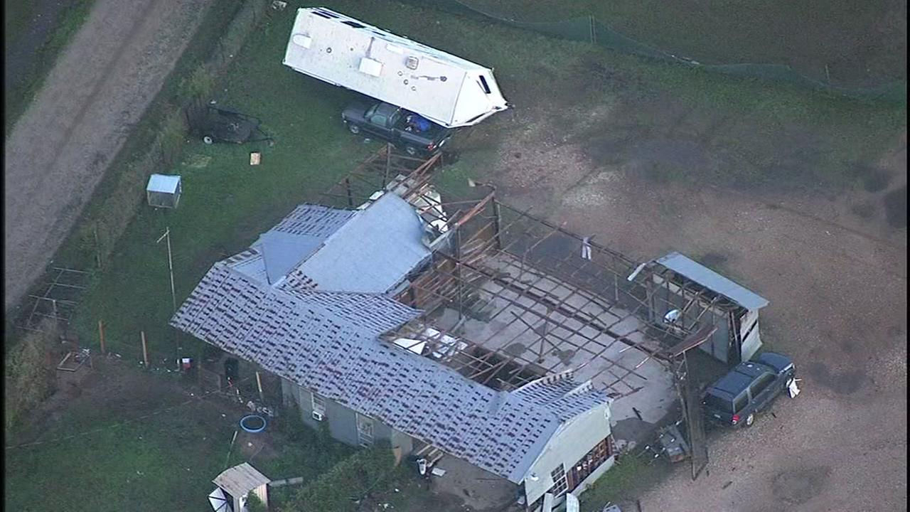 Skyeye video over Sealy shows damage from the storm.