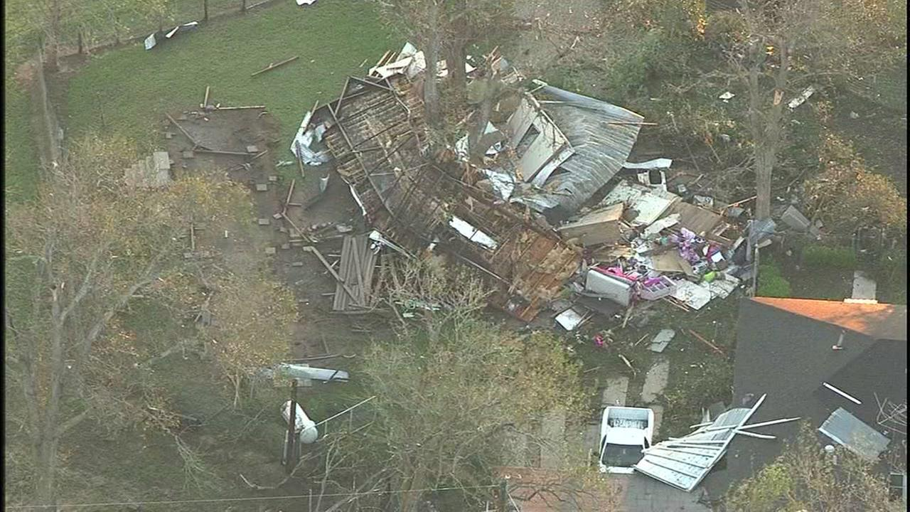 Homes and other structures damaged and destroyed by storm that ripped through Sealy.