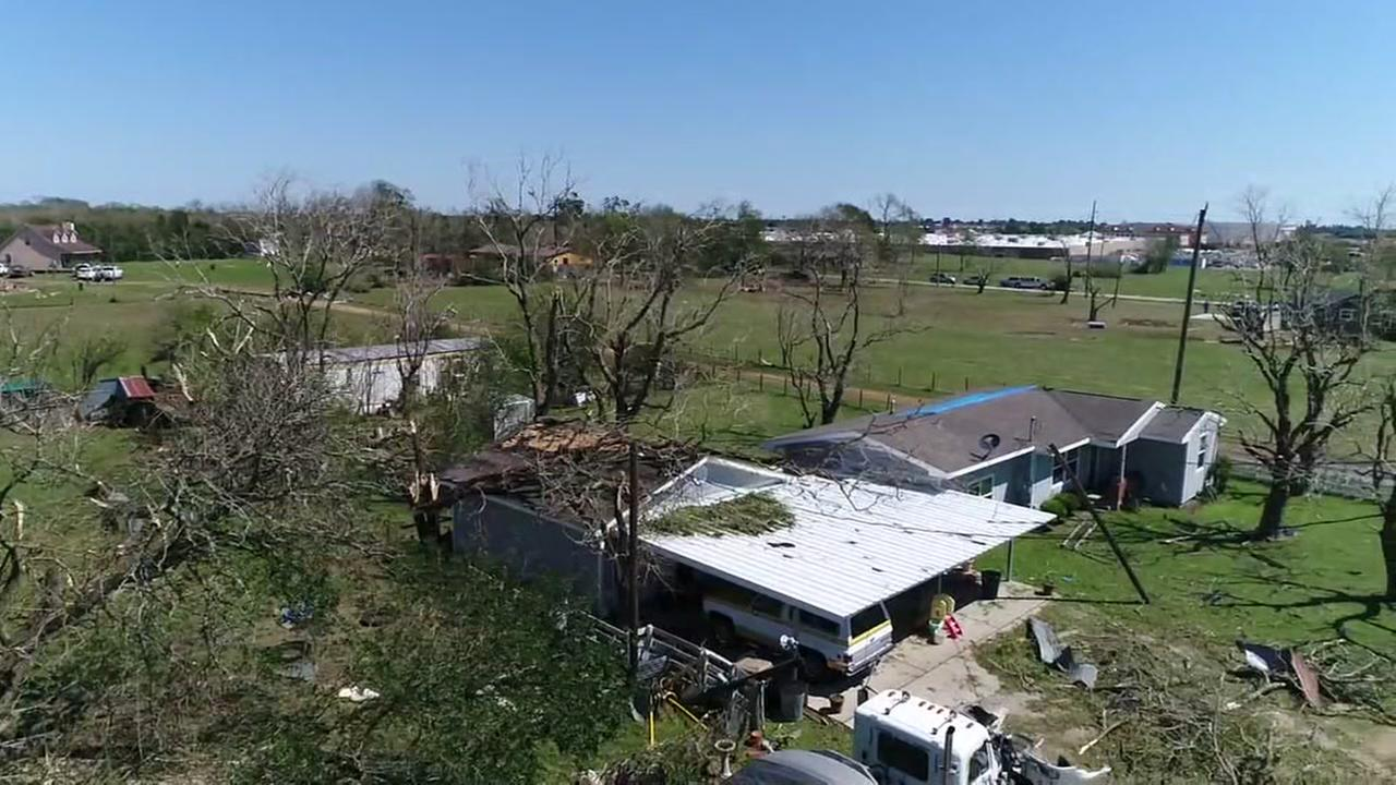 SkyDrone13 over storm damage in Sealy