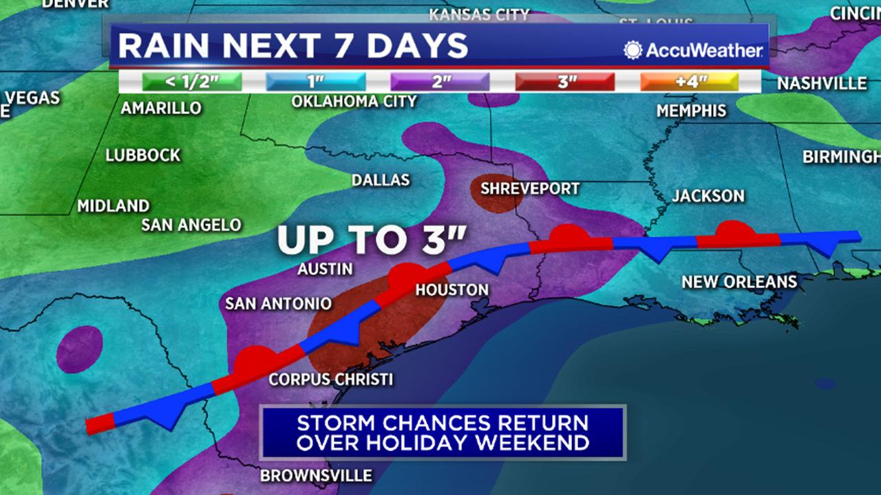 Storms could interrupt holiday weekend by Sunday