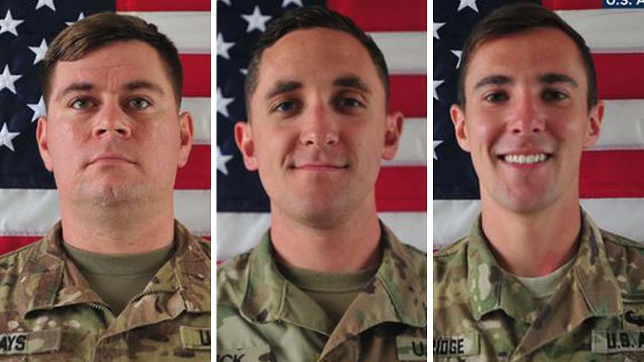 Sgt. William M. Bays, 29, of Barstow, Sgt. Eric M. Houck, 25, of Baltimore; and Cpl. Dillon C. Baldridge, 22, of Youngsville, N.C. (U.S. Army)