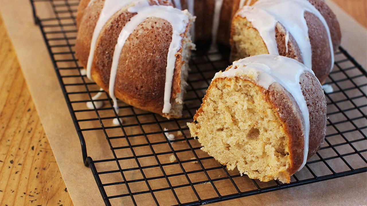 This Jan. 25, 2016 photo shows sour cream cinnamon coffee cake in Concord, N.H. This Bundt-style cake is from a recipe by Katie Workman.