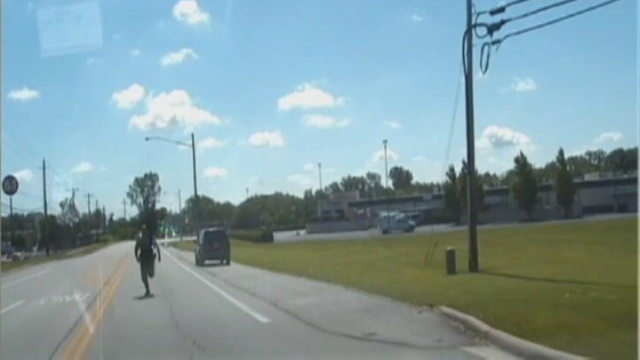 Deputy forced to chase after runaway cruiser.