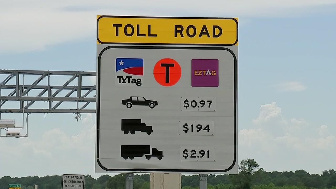 Toll road sign