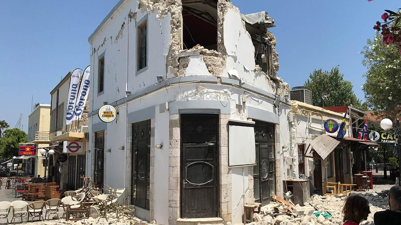 Rubble sits outside a bar where two people have been killed after an earthquake in Kos on the island of Kos, Greece, Friday, July 21, 2017.