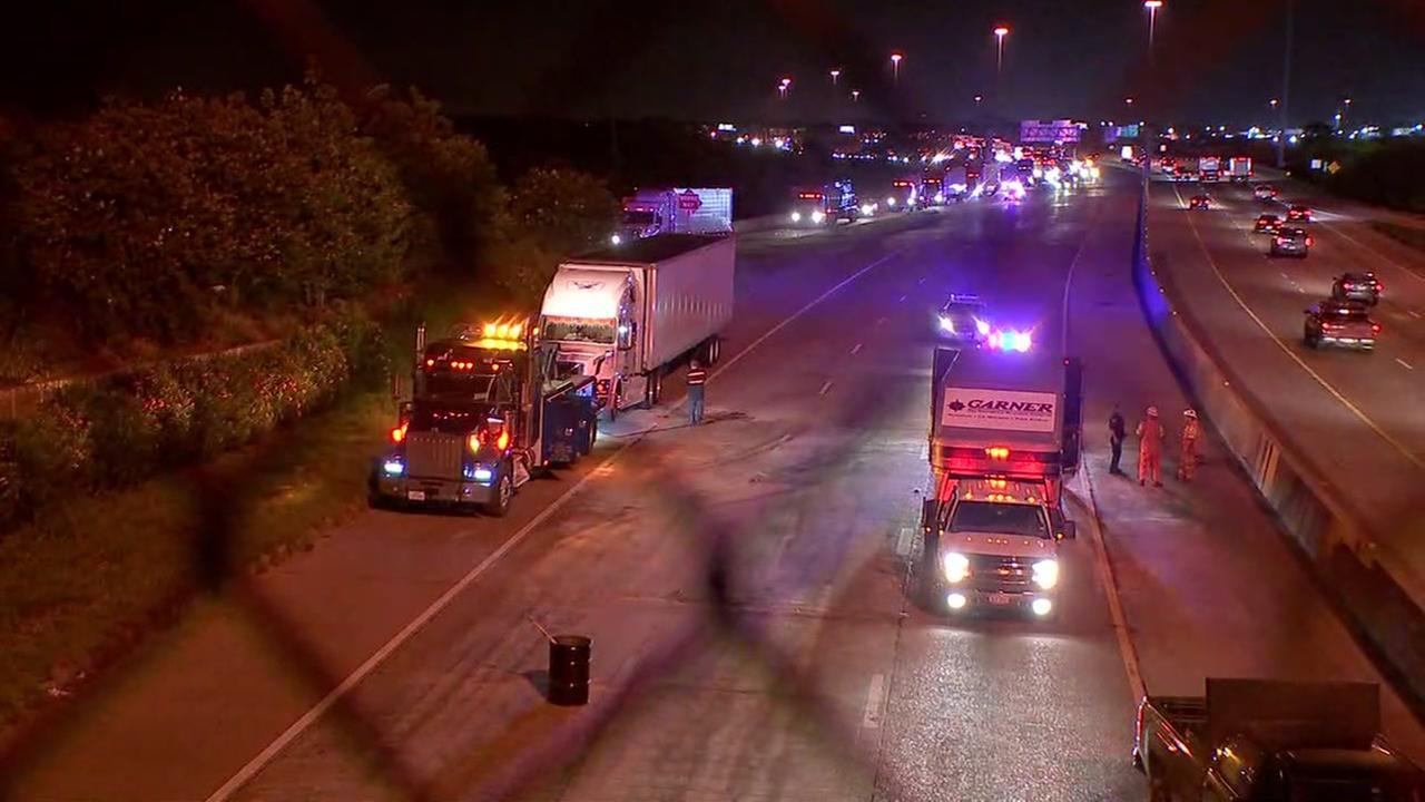 Hazmat crews clear diesel spill on I-10 eastbound.