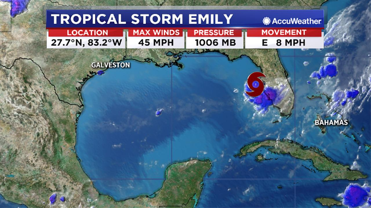Tropical Storm Emily forms in the Atlantic.
