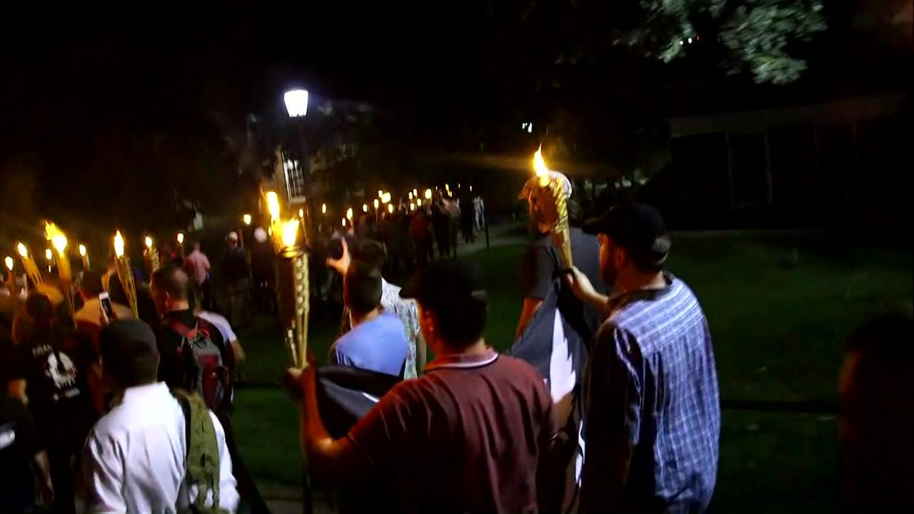 Hundreds carry torches in anti-immigration march