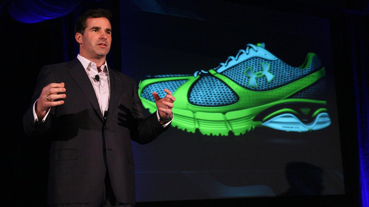 CEO Kevin Plank gives remarks at the launch event for Under Armours running shoes in New York Tuesday, Dec. 9, 2008.