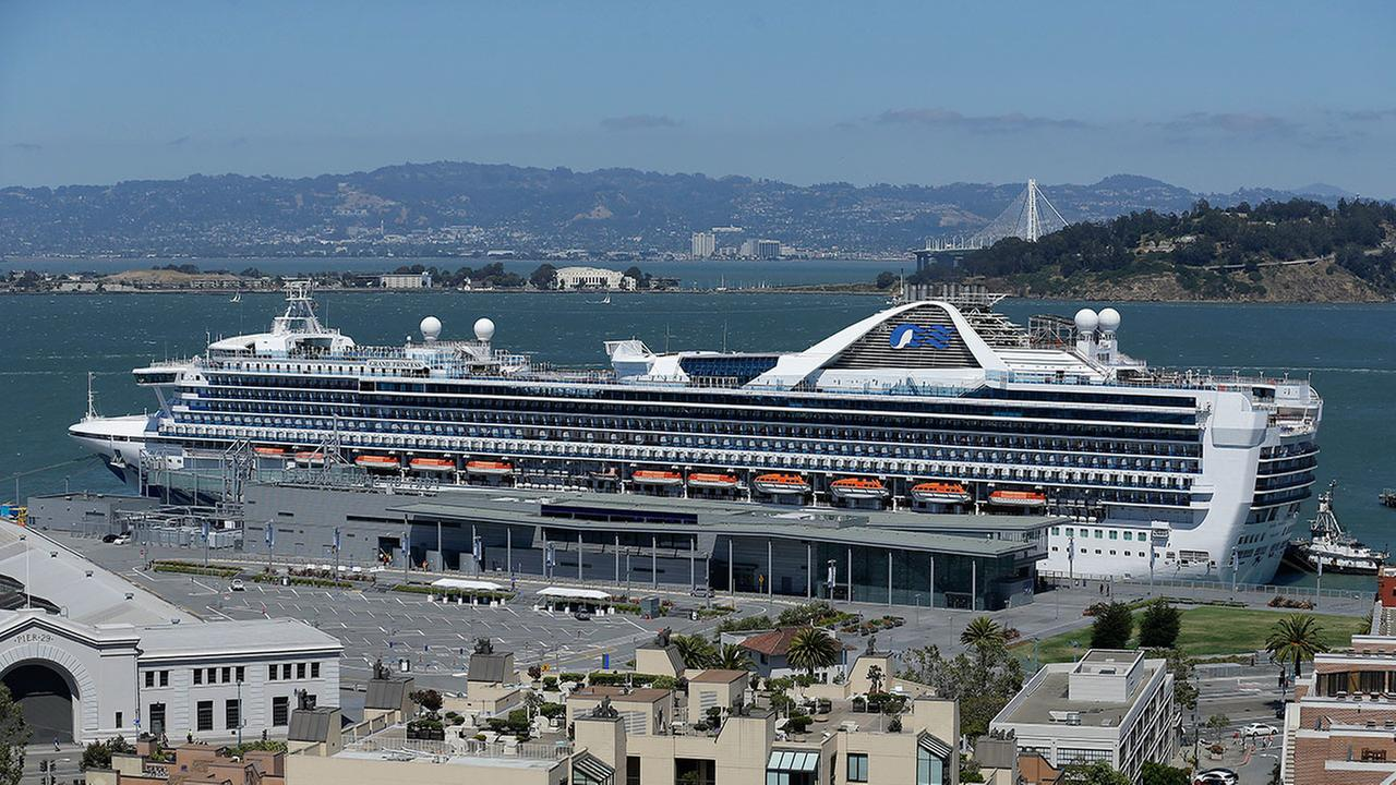 A cruise ship is shown docked in San Francisco, Tuesday, June 27, 2017.