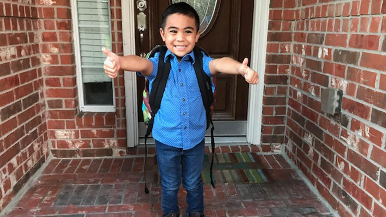 Sams first day of kindergarten at Lawhon Elementary School in Pearland ISD
