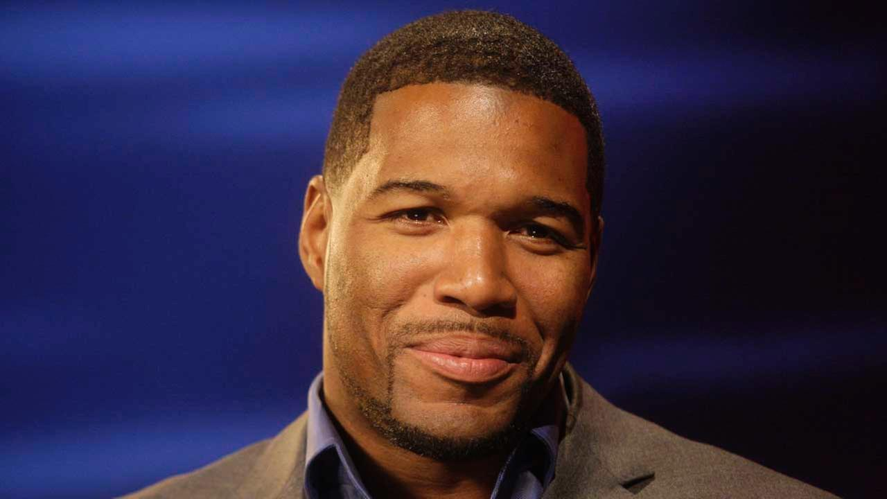 In this Sept. 14, 2009, file photo, Michael Strahan responds to questions during an interview in New York