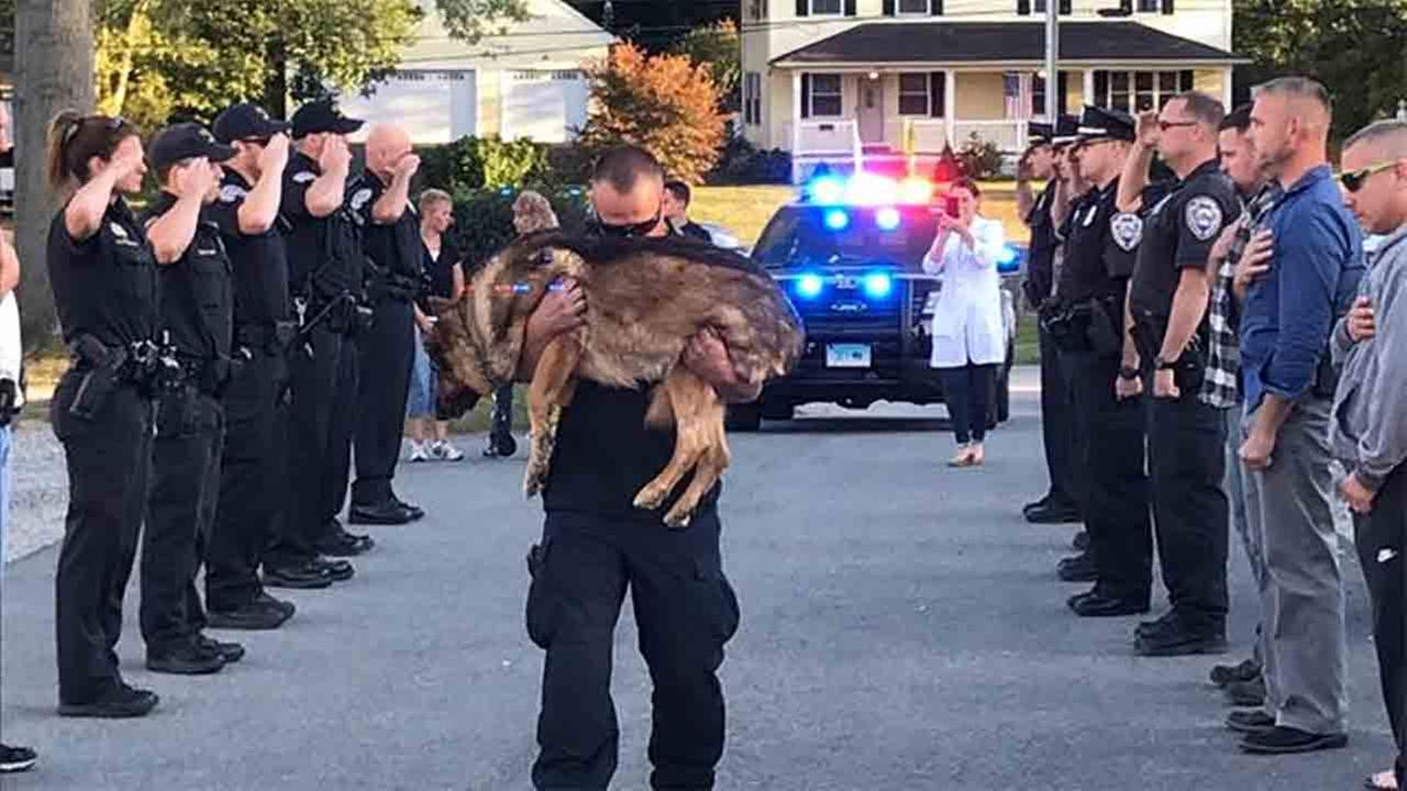 Officer Michael DAresta gives a final embrace to his K9 partner, Hunter.