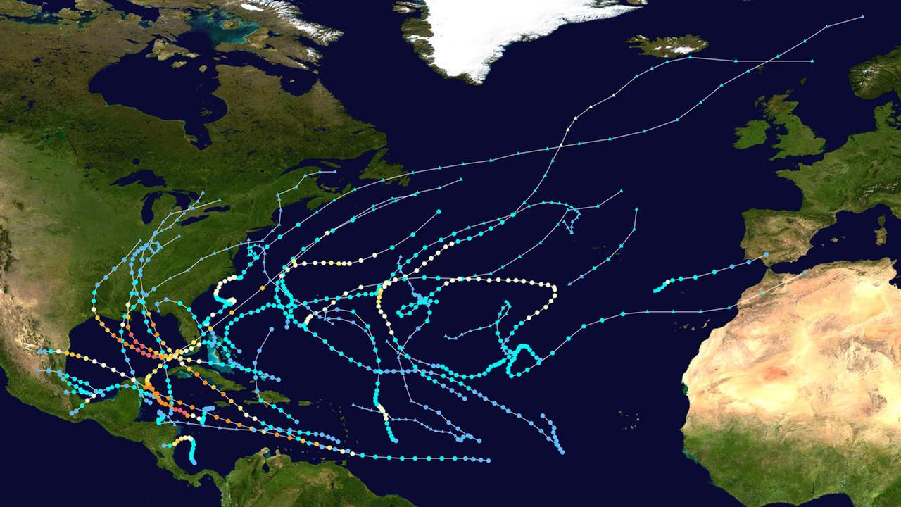 The 2005 Atlantic hurricane season saw a record 28 named storms.
