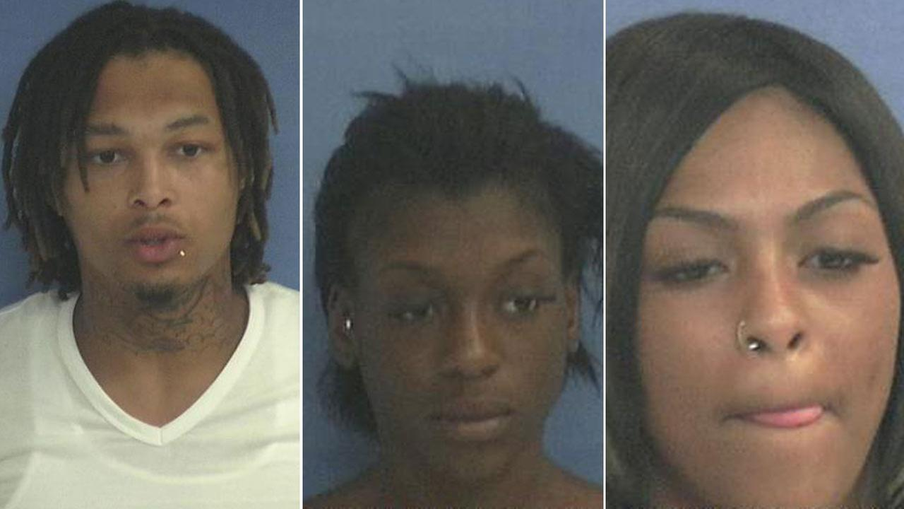 (left to right) Dandre Woodley, Tyra Forun, and Alexis Sanni are all charged with aggravated promotion of prostitution.