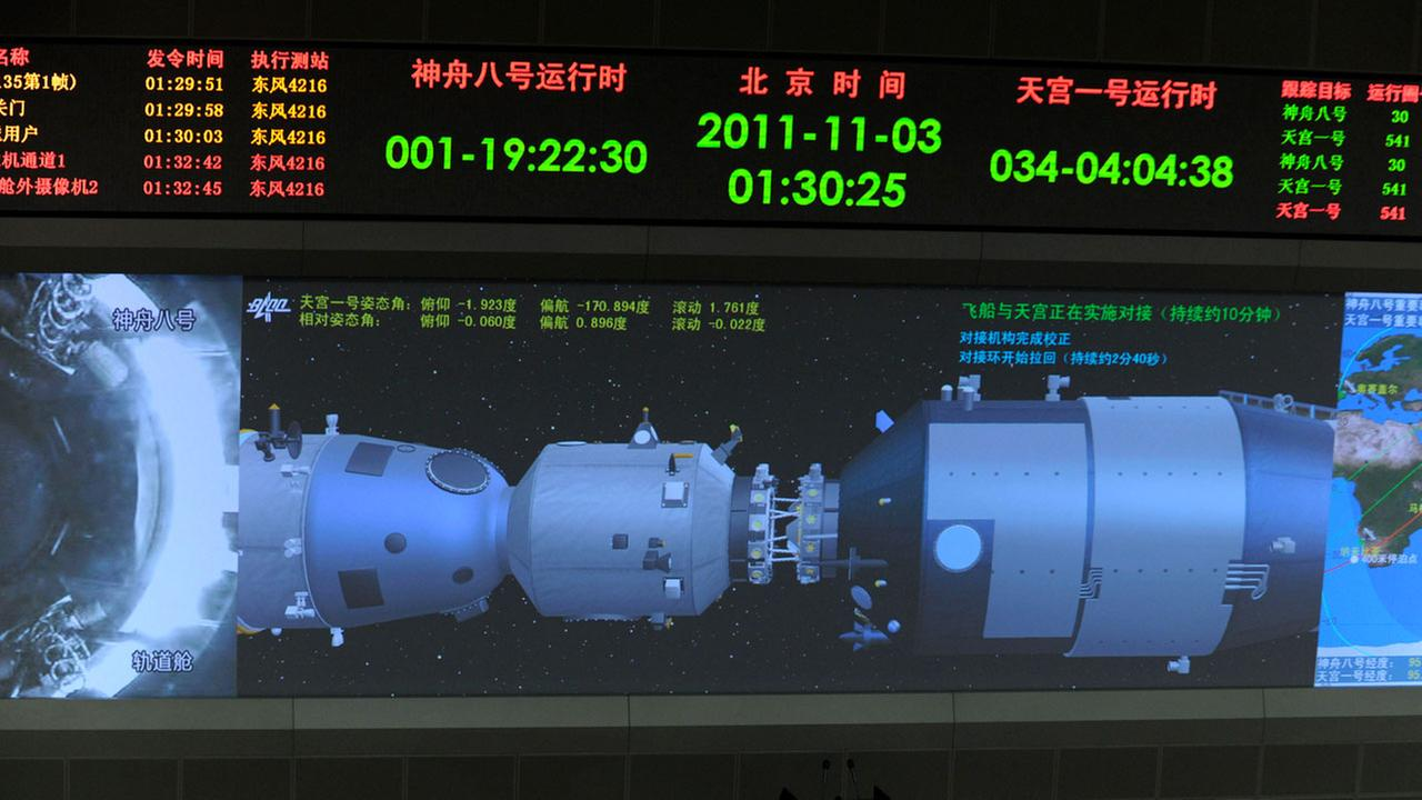 A 3D animation shows Chinas Shenzhou 8 spacecraft docking with Tiangong-1 space lab module on a screen at the Beijing Aerospace Control Center in 2011.