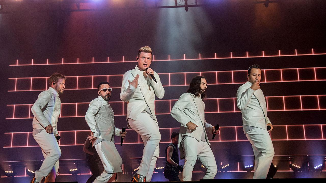 Brian Littrell, from left, AJ McLean, Nick Carter, Kevin Richardson and Howie Dorough of the Backstreet Boys perform during the Festival dete de Quebec on Sunday, July 9, 2017.