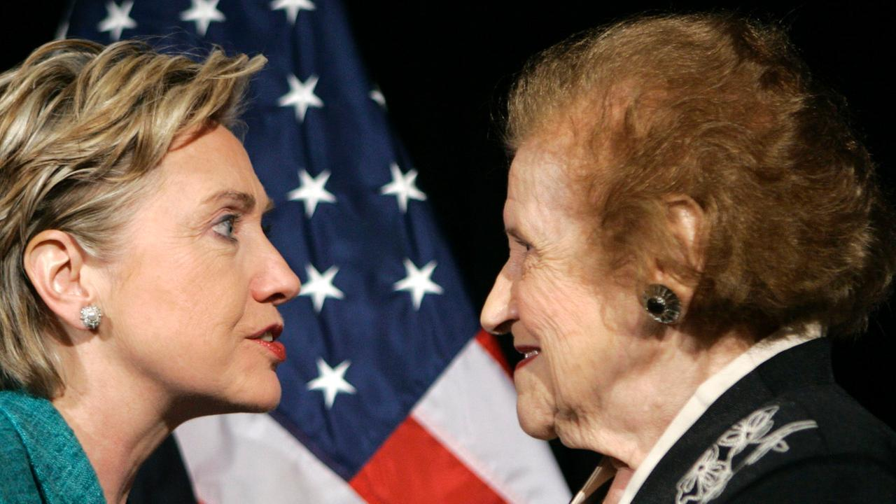 Hillary Rodham Clinton greets former Pittsburgh mayor Sophie Masloff on April 10, 2008 in Pittsburgh, PA