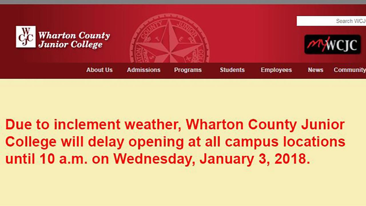 Wharton County Junior College opening at 10 a.m. Wednesday because of the cold weather.