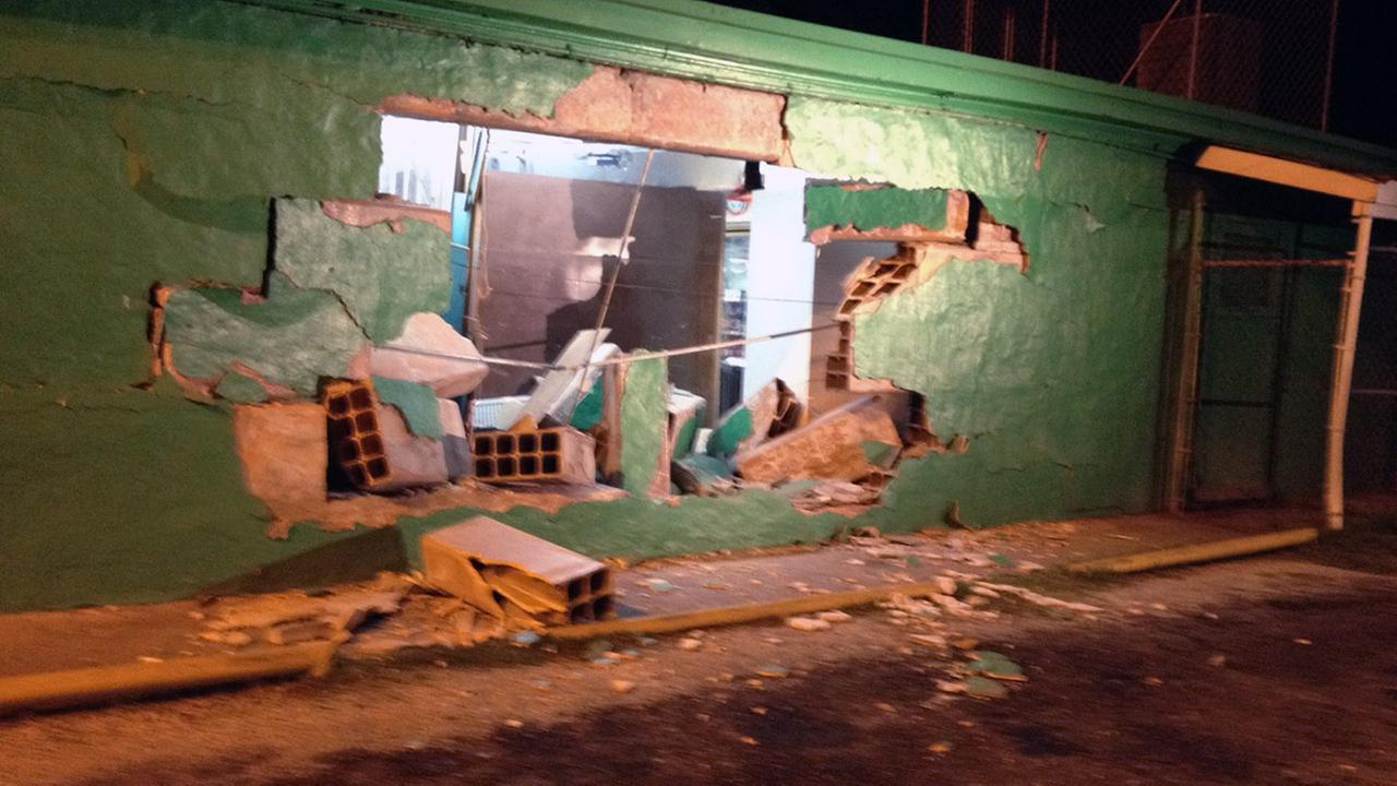 damage to side of store
