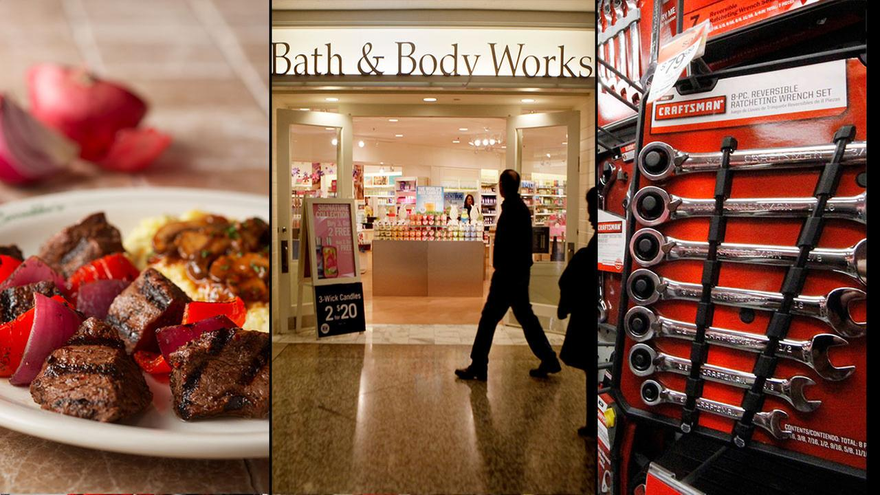 Carrabbas, Bath and Body Works, and Sears Craftsman tools